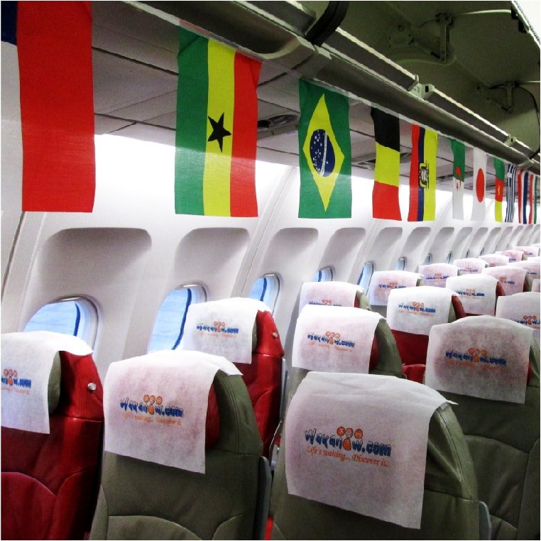 Custom decorations of plane cabin for world cup